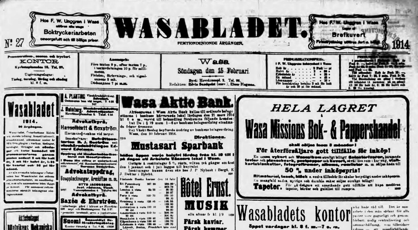 vasabladet 14 februari 1914